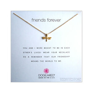 Dogeared-14K-Gold-Dipped-DRAGONFLY-amp-16-034-2-034-Chain-FRIENDS-FOREVER-Necklace-Boxed