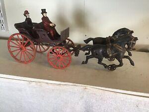 Antique-Cast-Iron-Horse-Drawn-Hubley-Surret