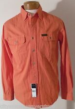 NWT Polo Ralph Lauren Mens L/S Chambry Shirt S Faded Orange MSRP$98