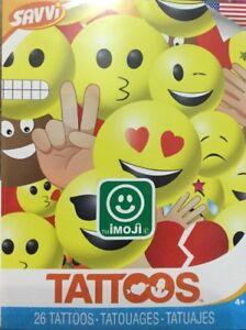 Details about SAVVI Emoji Heart Face Poop Funny Characters Kid Tattoo 26  Count New-Sealed USA