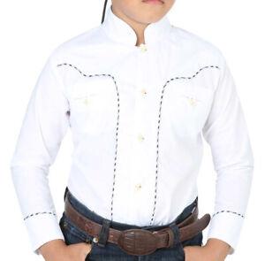 El General Boys Charro Shirt Western Wear Camisa Charra de Ni/ño Color White
