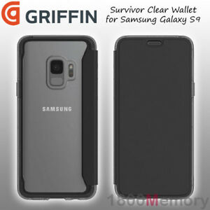 super popular 6d223 eb62e Details about GENUINE Griffin Survivor Clear Wallet Case Black Clear for  Samsung Galaxy S9