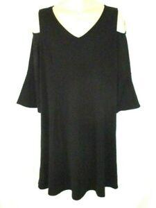 New-Isaac-Mizrahi-Live-Cold-Shoulder-Sheath-Dress-V-Neck-Black-Size-XL-Women-YB3