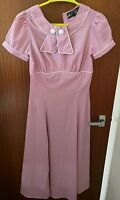 Hell Bunny Mae West Tea Dress baby pink size 8, XS vintage 40s 50s pin up