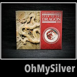 1/2 oz 2012 Perth Mint DRAGON SILVER PROOF RED COLOURED Lunar Series II COIN