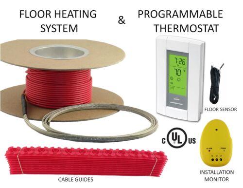 40 Sqft, 240V, ELECTRIC RADIANT WARM  FLOOR TILE HEAT SYSTEM + THERMOSTAT