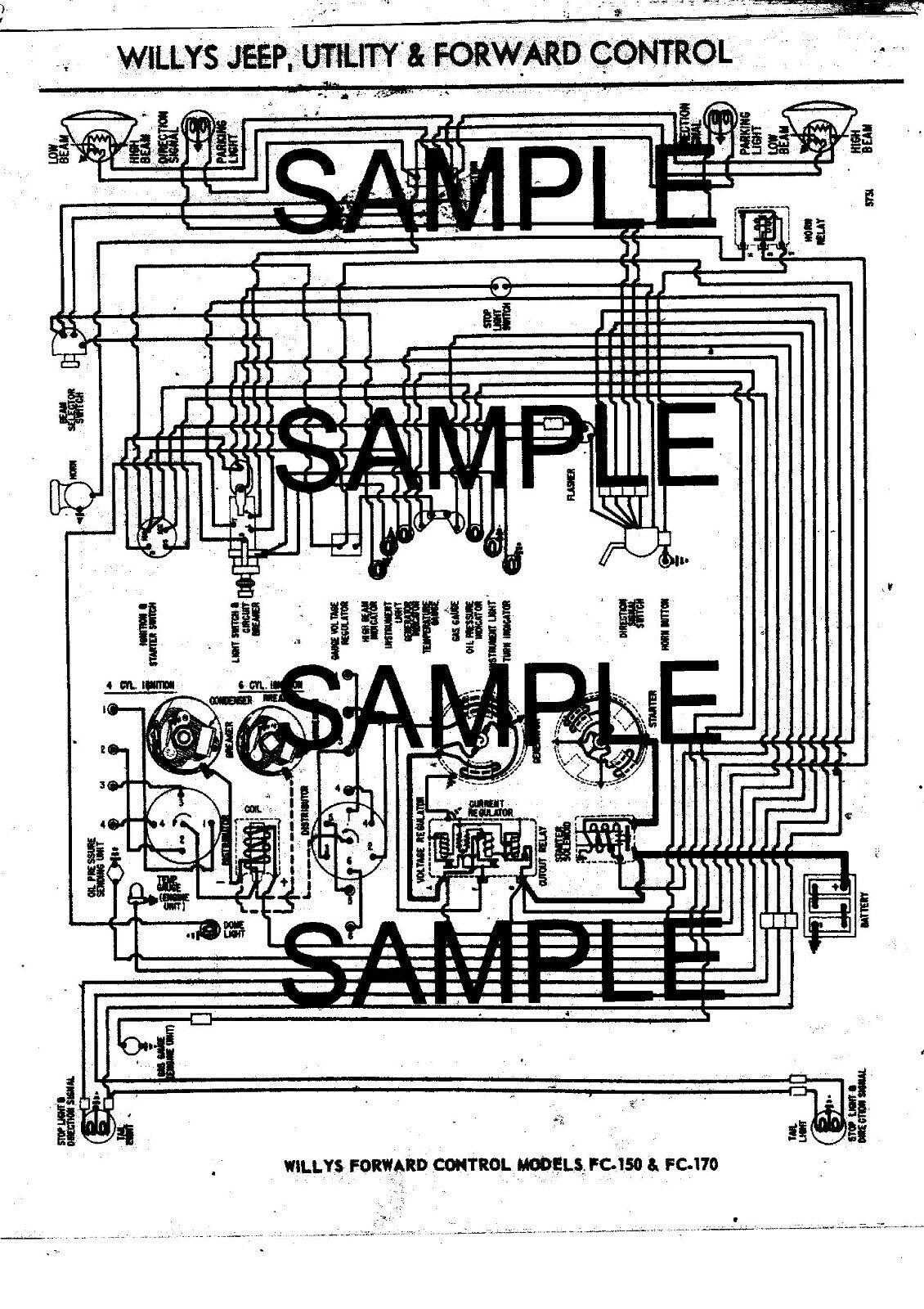1958 Willys Jeep Forward Control 150 170 4 6 Cyl 58 Wiring Diagram Chart Ndsbk Ebay