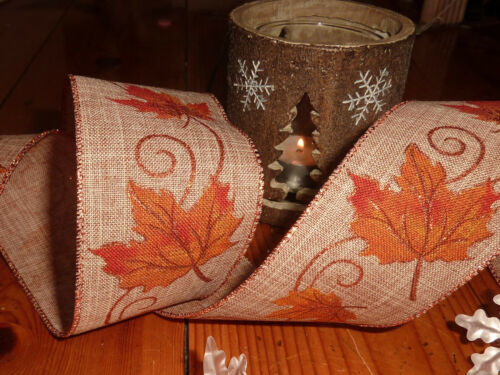 Brown Linen Maple Leaf burlap wide Rustic Decorative Shabby Chic Wired Ribbon
