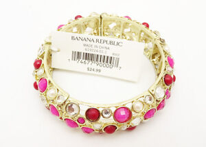 New-Stretch-Bracelet-with-Pink-Red-amp-Clear-Rhinetones-By-Banana-Republic-B1257