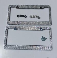 license plate holder 2 Pieces Crystal Diamond Car License Plate Frames Handmade Sparkly Bling Colorful Rhinestone Stainless Steel Metal Frames