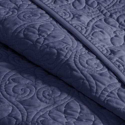 BEAUTIFUL XXXL NAVY BLUE CLASSIC SCROLL VINTAGE STITCH SOFT BEDSPREAD QUILT SET