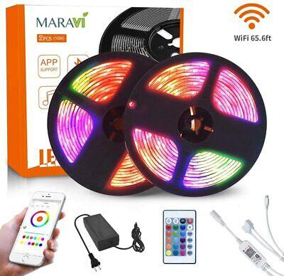 65.6ft 20m 5050 SMD RGB WIFI 600 led Strip Light  Alexa Google Home tape lamp DC