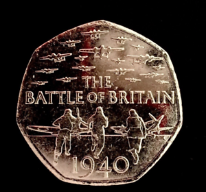 Battle-of-Britain-1940-Fifty-Pence-50p-coin-2015-Circulated-excellent-condition