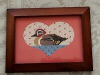 Finished Cross Stitch Needlepoint Duck Floating Water Completed Wood Frame Heart