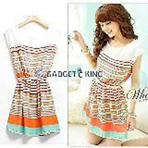 Womens-striped-colourful-Summer-Short-Sleeve-Chiffon-Top-Mini-Dress-S-Size-8-10