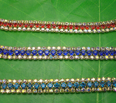 fashion 3row clear AB glass rhinestone compact gold chain claw trim Applique 3P
