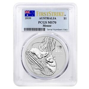 2020 1 oz Silver Lunar Year of The Mouse / Rat Australia Perth PCGS MS 70 FS