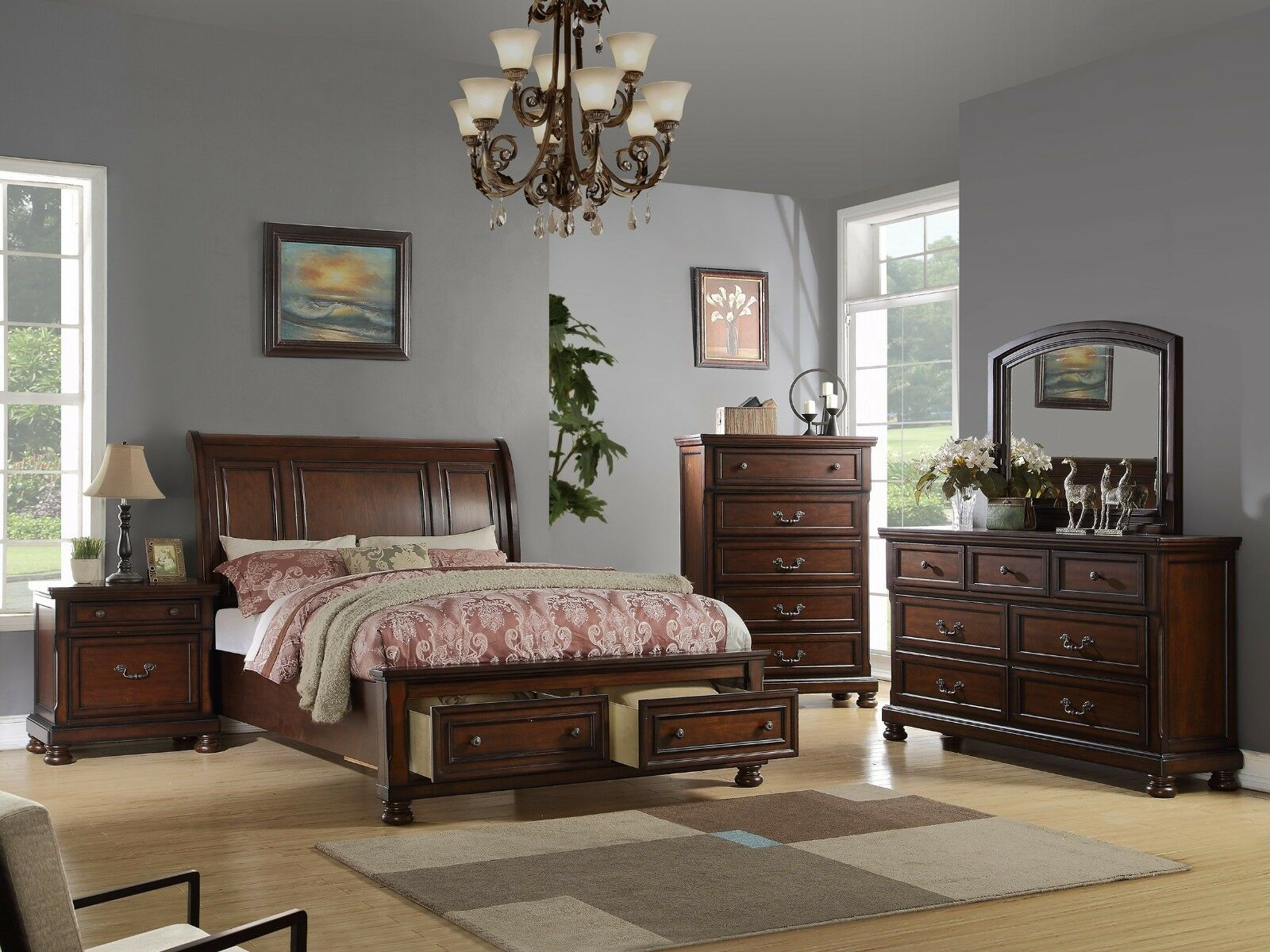 Modern 4p Espresso Finish Bedroom Est King Bed Mirror Dresser Nightstand Drawers For Sale Online Ebay