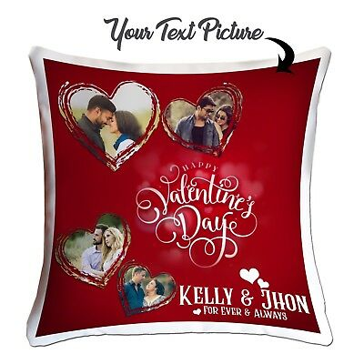 Personalised Valentine Day Template Your Photo Cushion Cover Loving Pictures ❤