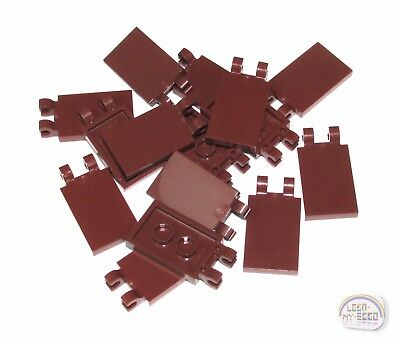 LEGO Lot of 15 Reddish Brown 1x2 Specialty Smooth Grill Tile Pieces
