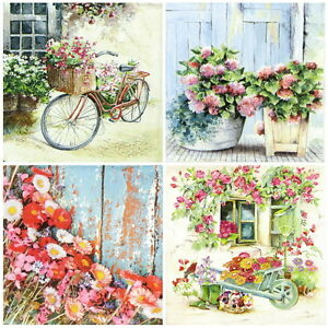 4x-Paper-Napkins-for-Decoupage-Craft-Flower-Garden-Mix