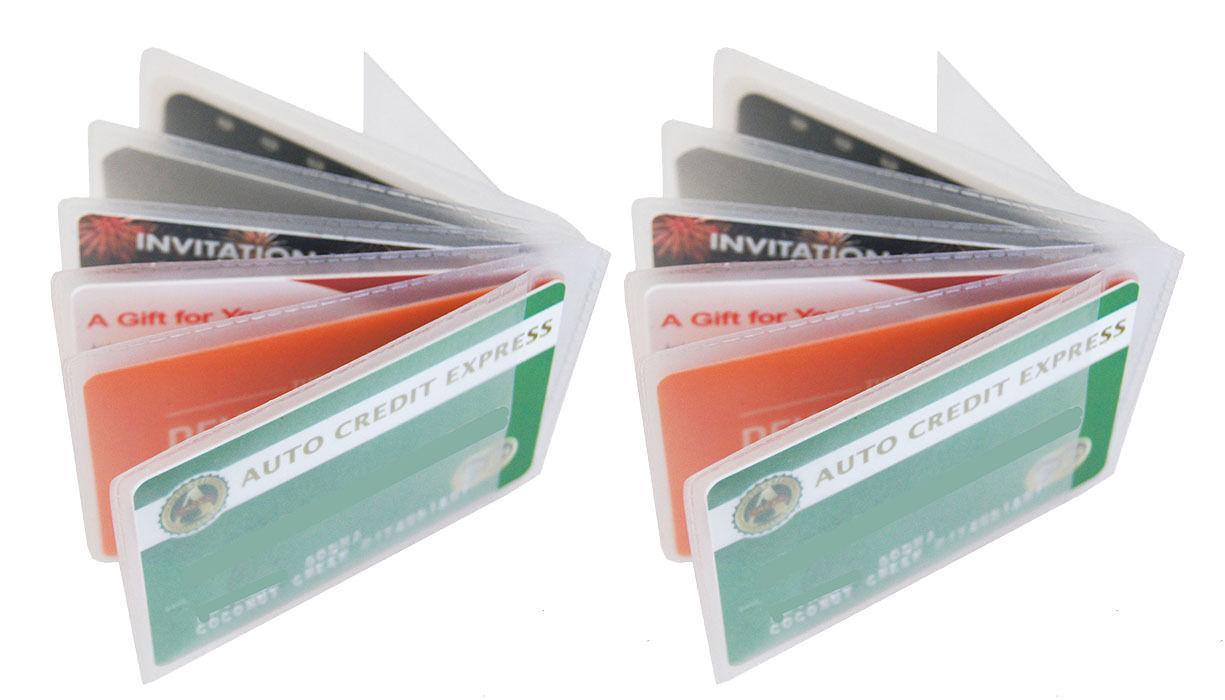 2 Klarer Kunststoff 6 Seite Einsatz Kreditkarteninhaber Geldbörse Etui US Seller