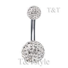 T&T 12mm Clear Swarovski Crystal Ball Belly Bar Ring BL137A