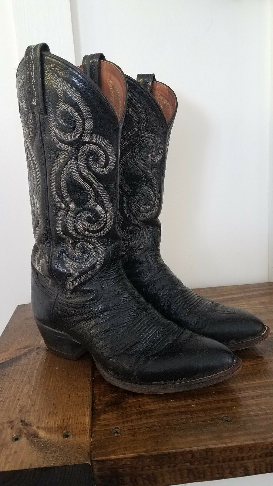 Tony lama boots Style 8410 Size 7.5B Black Ostrich Leather