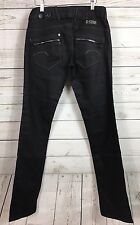 G-Star Raw Corvette Skinny Straight Jeans Black Coated Denim Women's Sz 26