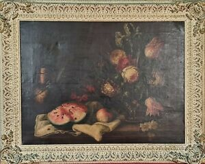 Still-life-with-flowers-oil-on-canvas-unsigned-xviii-xix-century
