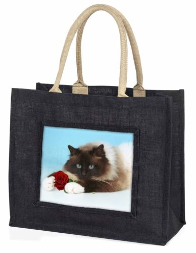Birman Point Cat with Red Rose Large Black Shopping Bag Christmas Pre, AC45RBLB