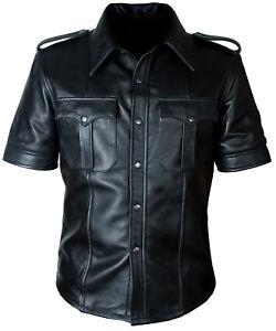 Para-hombres-Cuero-Oveja-Hot-Real-Policia-Uniforme-Bluff-Gay-Camisa
