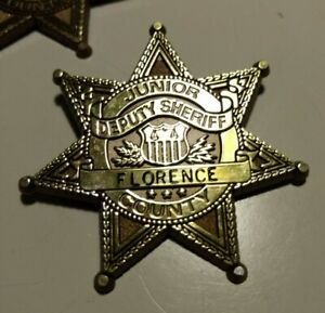Pin-back Junior Deputy Florence County Sheriff's Office S.C. Novelty Badge Used