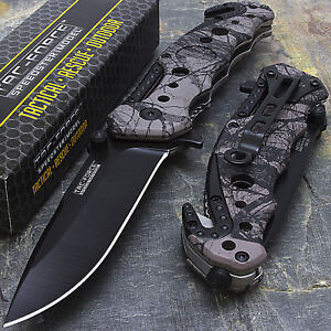 """7.75"""" TAC FORCE EDC GRAY CAMO SPRING ASSISTED TACTICAL POCKET KNIFE Blade Assist"""