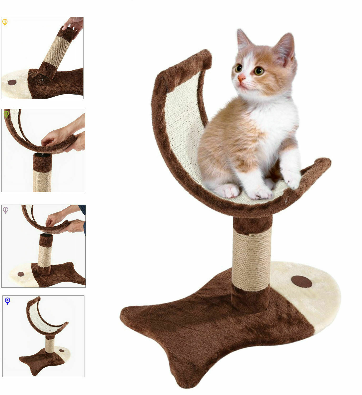 The Board Hand Made Cat or Kitten Scratch Tree Scratching Straps Brown Cat Scratching Post