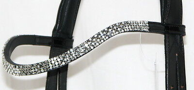 FSS 4 row Crystal PATENT Curve U Bling CLEAR SILVER METALLIC German Browband NEW