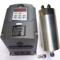 WATER-COOLED 65MM 1.5KW ER11 COLLET SPINDLE MOTOR AND MATCHING INVERTER VFD CNC