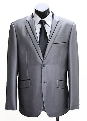 86046 NEW MEN/'S SHINY GREY 2-BUTTON SUIT JACKET WITH TROUSER PANTS