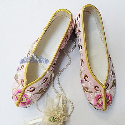 Lady Floral Ballerina Slipper Ballet Chinese Slip On Shoe Flat Embroidered Pump