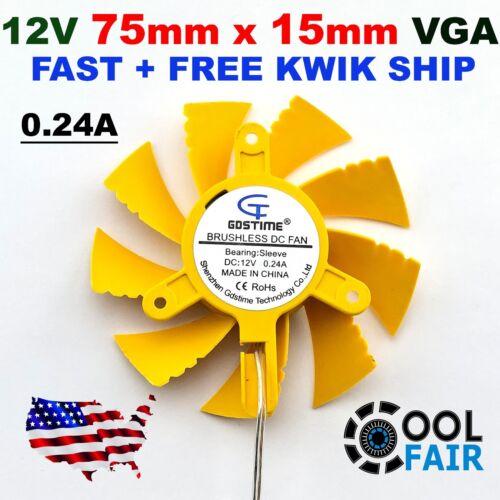 DC 12V 75mm Computer PC VGA Video Card Heatsink Cooler Cooling Fan Yellow 2pin