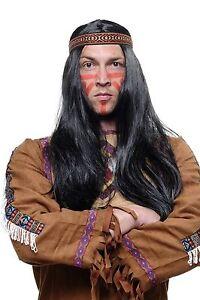 Peluca-Indio-India-Apache-Negro-60cm-Largo-Plano-con-Cinta-LM3049