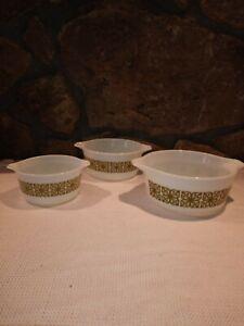 Vintage Pyrex Cinderella Bowls 475B,474B,473 White w/Flower Petal Pattern    USA