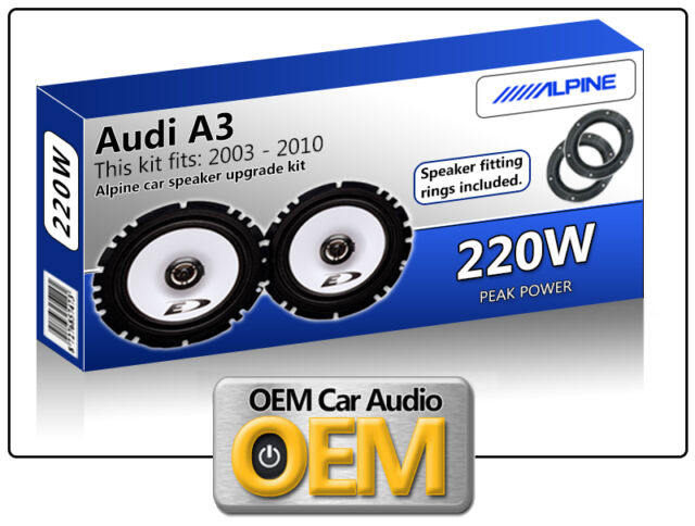 """Audi A3 Porte Arrière Haut Parleurs Alpine 17cm 6.5 """" Enceinte Voiture Kit 220W"""