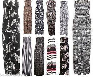 WOMENS-LADIES-BANDEAU-BOOBTUBE-SHEERING-GATHER-SUMMER-LONG-MAXI-DRESS-SIZE-8-22