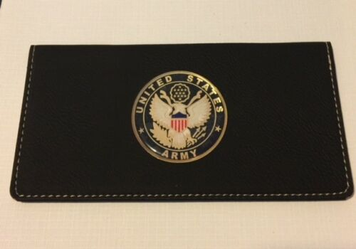 ARMY USA  BLACK Leatherette Checkbook Cover FAUX LEATHER FREE SHIPPING