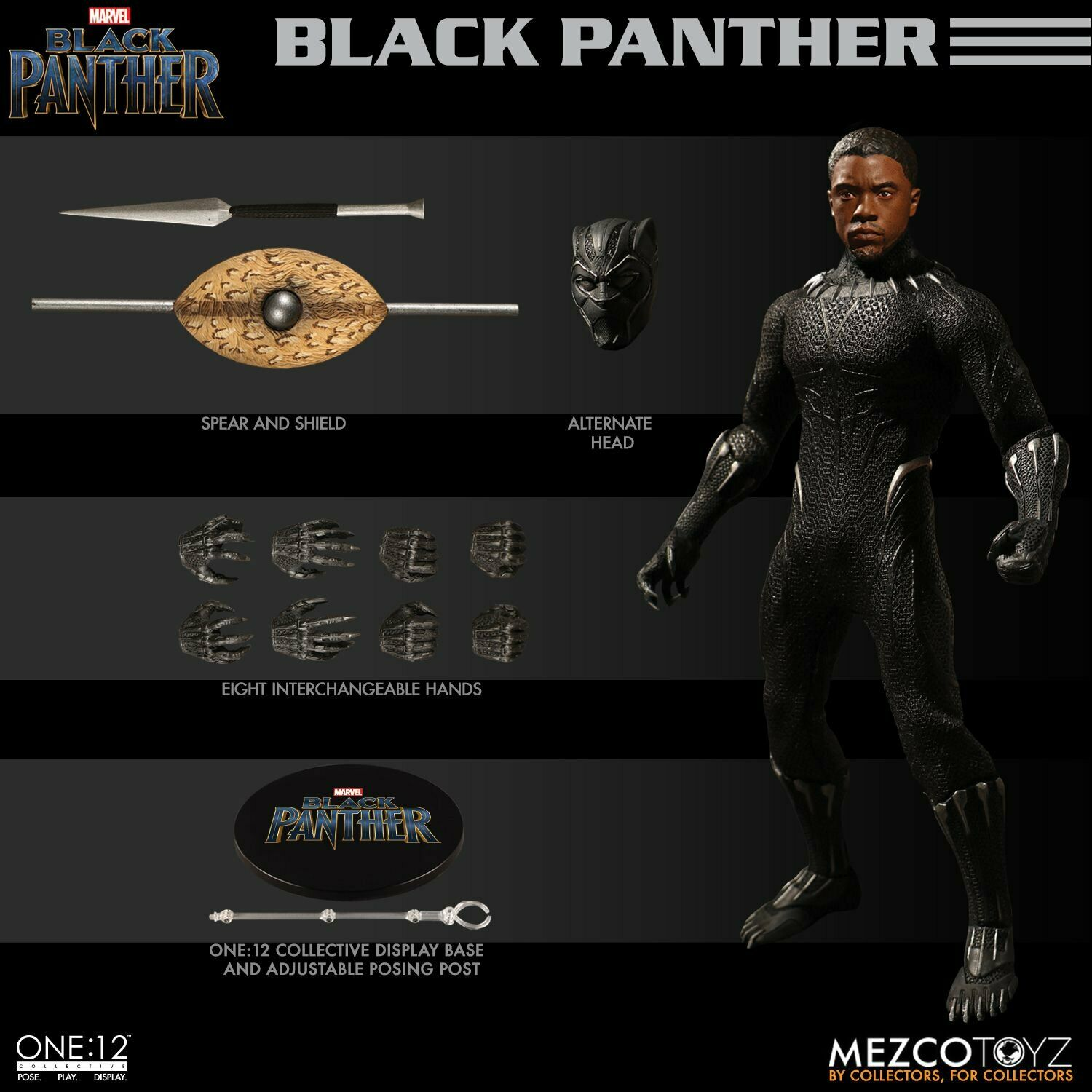 One 12 Collective Marvel schwarz Panther 1 12th Scale Figure Mezco IN STOCK