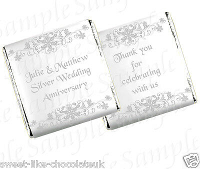 ** 50 PERSONALISED CHOCOLATE WEDDING/ANNIVERSARY FAVOURS - ORNATE SNOWFLAKES **
