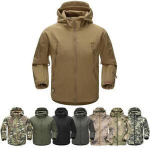 UOMO SLIM IMPERMEABILE Cappotto Militare Tactical Giacca in