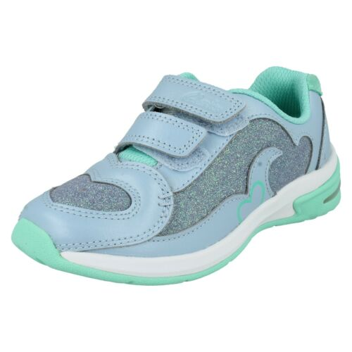 Girls Clarks Hook /& Loop Leather Trainers with Flashing Lights Piper Play