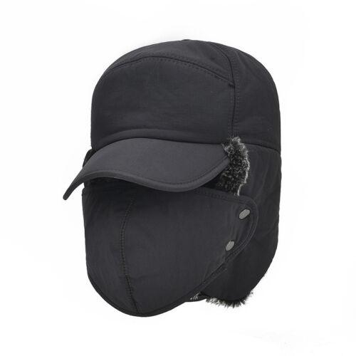Mens Aviator Trapper Trooper Ski Hats Winter Earflap Russian Face Mask Cap RX